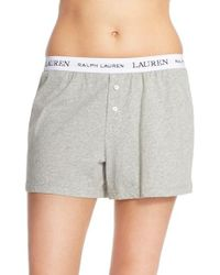 Lauren by Ralph Lauren | Gray Logo Elastic Boxer Lounge Shorts | Lyst