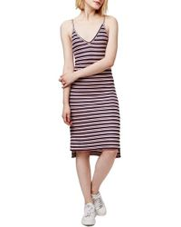 TOPSHOP - Blue Striped Stretch-Jersey Midi Dress - Lyst