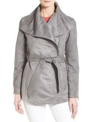 Laundry by Shelli Segal | Gray Belted Faux Suede Jacket | Lyst