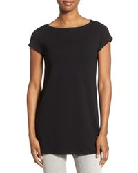 Eileen Fisher | Black Bateau Neck Tunic Top | Lyst