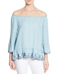 Wit & Wisdom | Blue Embroidered Chambray Off-the-shoulder Top | Lyst