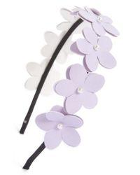 Cara | Purple Faux Leather Flower Headband | Lyst