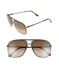 81a594ac2c Lyst - Tom Ford  dominic  60mm Aviator Sunglasses - Dark Brown ...