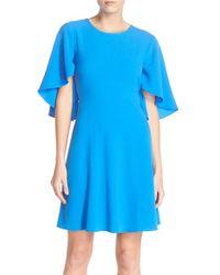 Taylor Dresses - Blue Bell-Sleeve Crepe A-line Dress - Lyst