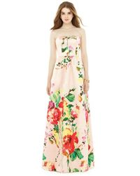 Alfred Sung   Pink Watercolor Floral Strapless Sateen A-line Gown   Lyst