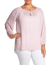 Vince Camuto - Pink Shirred Neck Peasant Blouse - Lyst