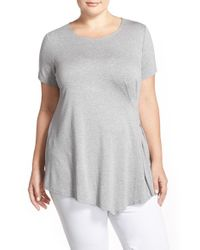 Vince Camuto - Gray Side Pleat Asymmetrical Top - Lyst