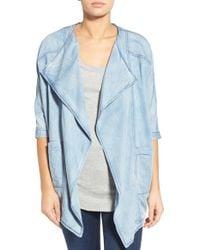 James Jeans - Blue Drape-Front Chambray Jacket - Lyst