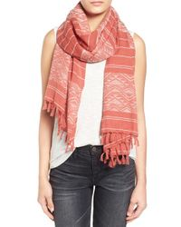 Madewell - Red Triangle Stripe Cotton Scarf - Coral - Lyst