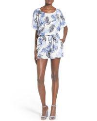 Mimi Chica - Blue Palm Print Kimono Romper - Lyst