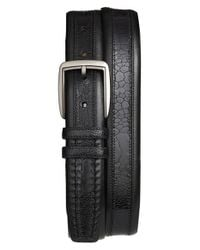 Mezlan - Black Calfskin & Genuine Ostrich Leather Belt for Men - Lyst