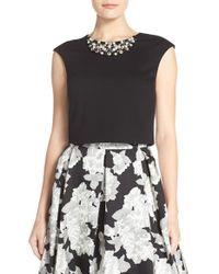 Eliza J | Black Embellished Crop Top | Lyst
