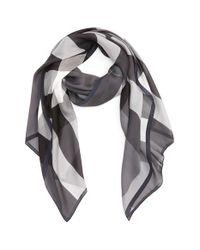 Burberry | Gray Mega Check Silk Scarf | Lyst