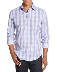 Bugatchi - White Shaped Fit Long Sleeve Plaid Sport Shirt for Men - Lyst
