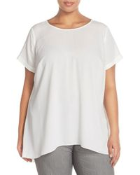 Vince Camuto | White High/low Short Sleeve Blouse | Lyst