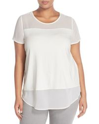 Vince Camuto | White Chiffon Inset Knit Top | Lyst