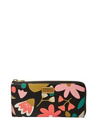 Fossil - Black 'large Emerson' Zip Wallet - Lyst