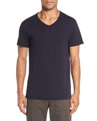 Vince   Blue Slub V-neck T-shirt for Men   Lyst