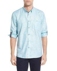 Ted Baker - Blue 'uncle Bob' Modern Trim Fit Linen Blend Sport Shirt for Men - Lyst