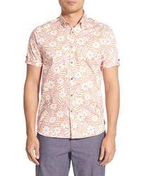 Ted Baker - Pink 'real Hip' Modern Slim Fit Floral Short Sleeve Sport Shirt for Men - Lyst