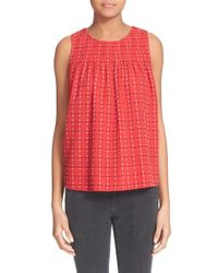 The Great - Embroidered Woven Cotton Top - Lyst