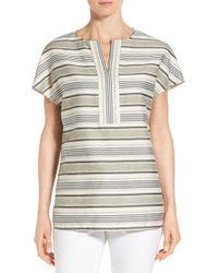 Lafayette 148 New York | Natural 'lula' Stripe Split Neck Blouse | Lyst