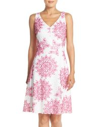 Maggy London | Pink 'star Medallion' Lace Fit & Flare Dress | Lyst