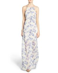 4si3nna - Gray Floral-Print Open Back Crepe Maxi Dress - Lyst