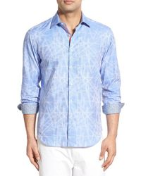 Bugatchi - Blue Shaped Fit Print Sport Shirt for Men - Lyst