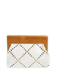 Sondra Roberts | White Perforated Faux Leather Frame Clutch | Lyst