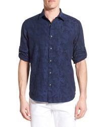 Victorinox - Blue Victorinox Swiss Army 'wilen' Slim Fit Jacquard Sport Shirt for Men - Lyst