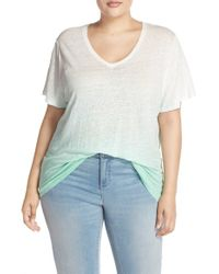 Two By Vince Camuto - White Dip Dye Linen Tee - Lyst