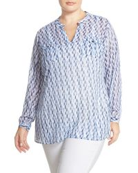 Two By Vince Camuto - Blue 'feathery' Print Split Neck Tunic - Lyst