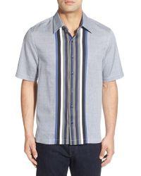 Nat Nast - Blue 'allones' Regular Fit Short Sleeve Silk Blend Sport Shirt for Men - Lyst