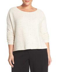 Eileen Fisher - White Bateau Neck Boxy Sweater - Lyst