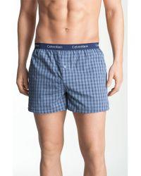 Calvin Klein | Blue 'matrix' Slim Fit Woven Boxers for Men | Lyst