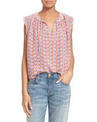 Rebecca Taylor - White 'amanda' Sleeveless Floral Print Silk Top - Lyst