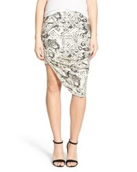 Pam & Gela - Black Geometric-Print Draped Stretch-Crepe Skirt - Lyst