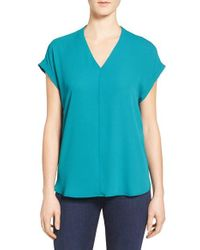 Pleione | Blue High/low V-neck Mixed Media Top | Lyst