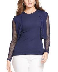 Lauren by Ralph Lauren - Blue Mesh Sleeve V-neck Crop Cardigan - Lyst
