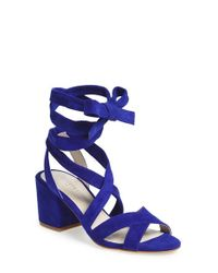 Kenneth Cole - Blue 'victoria' Leather Ankle Strap Sandal - Lyst