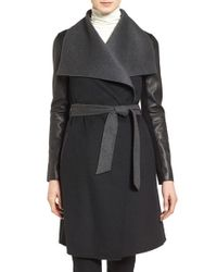 Mackage | Black Leather Sleeve Wool Blend Wrap Coat | Lyst