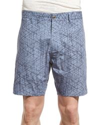 W.r.k. - Blue 'tristen' Print Shorts for Men - Lyst