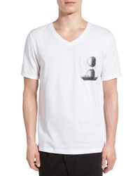 HUGO | White 'dunglas Sunglasses' Print Pocket V-neck T-shirt for Men | Lyst