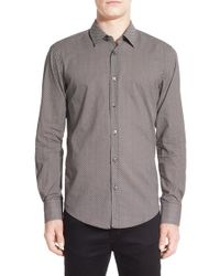 BOSS - Gray 'robbie' Trim Fit Geo Print Sport Shirt for Men - Lyst