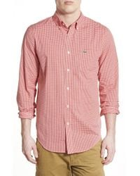 Lacoste - Red Mini Check Woven Shirt for Men - Lyst