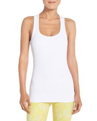 Alo Yoga | White Support Ribbed Racerback Tank | Lyst