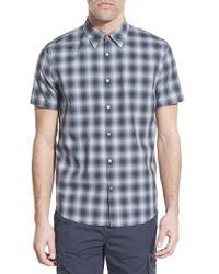 John Varvatos - Blue Trim Fit Plaid Short Sleeve Sport Shirt for Men - Lyst