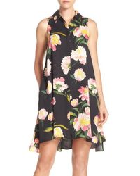 Adrianna Papell - Black Floral Crepe De Chine Shirtdress - Lyst