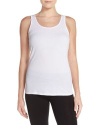 Lauren by Ralph Lauren | White Ribbed Knit Tank | Lyst